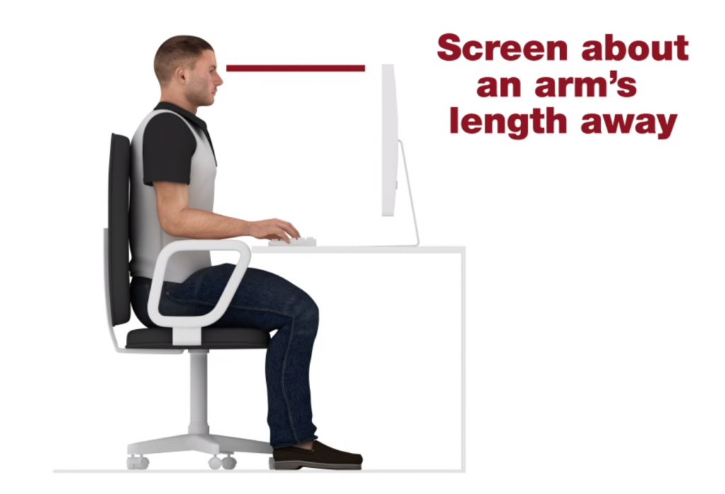 screen about arms length away