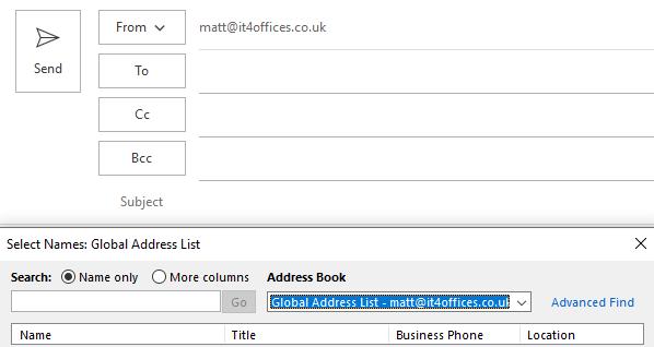 Outlook global address list