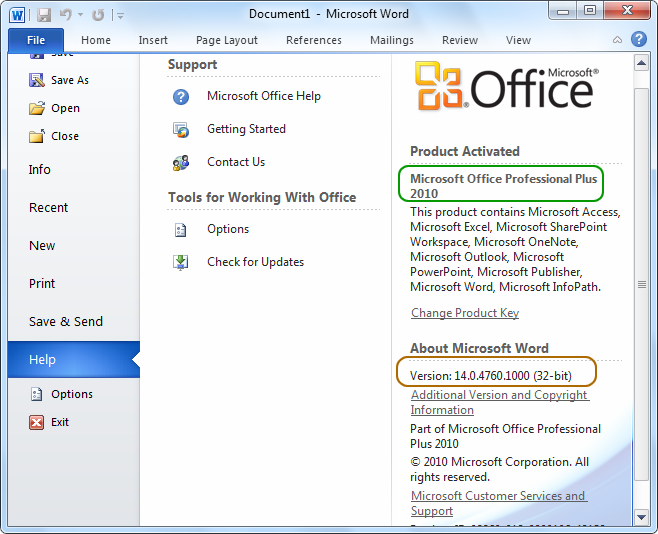 Check Microsoft Office Version help screen