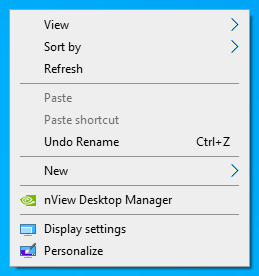 Right click desktop menu